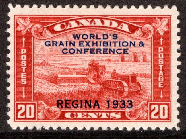 203 Canada, 20c Harvesting Wheat, Grain Exposition, MLHOG, F/VF, Postage Stamp