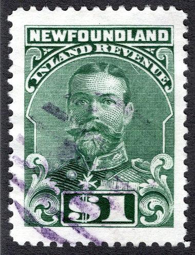 R20b, $1, green SUPERB, Inland Revenue, 1910, King George V, Newfoundland Inlan