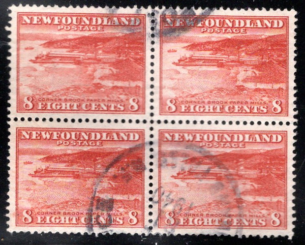 185, NSSC, Newfoundland, Block of 4, Used, Corner Brook Paper Mill, Scott 209
