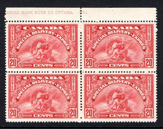 E6, 20c henna brown, Special Delivery - VF - MNHOG, Inscription Block of 4