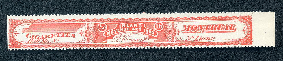 Ryan RC6n - 1880 Cigarette Stamp / Strip - Not More Than 1/20th pound - Red