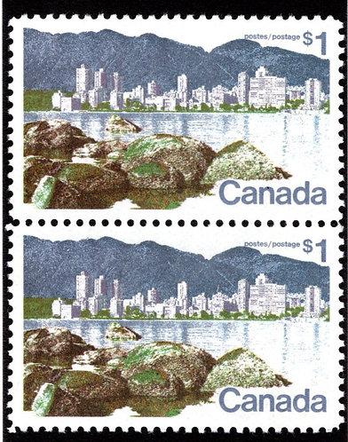 "600 w/600ii Scott - $1 ""Short $ Flaw"", VF, MNHOG, Vancouver Landscape Definitive"