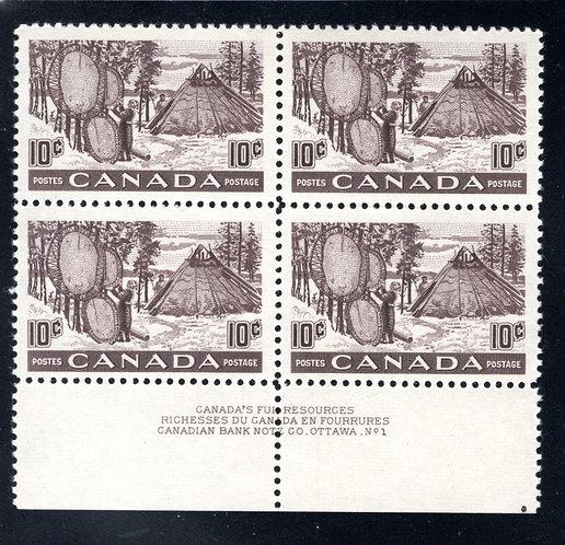 301 Scott - 10c black brown, PB1, MNHOG, VF, Drying Skins, Canada Postage Plate