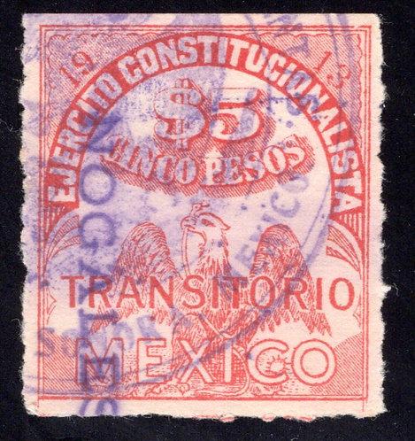RV 26, MEXICO, 1913, 5P, Transitorio, Revolutionary, No Talon, VF
