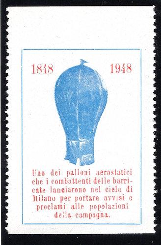 Italy Aviation Vignette, 1848-1948, commemmorative. MNHOG Balloon / Aviation Cin