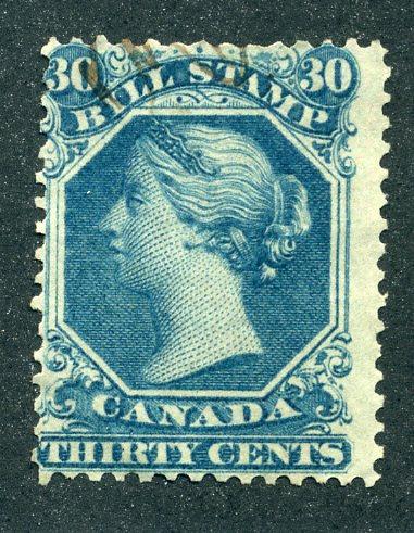 van Dam FB29 - 30c blue- Used - 1865 Second Bill Issue