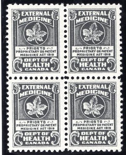 Van Dam FM2 - Block of 4, MNHOG,1919 black,Federal Medicine