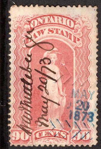 van Dam OL56, Canada, Ontario, used, Law Stamp, 90c, 3 cancels, ms script