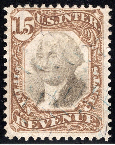 R139, Third Issue, 15c, US Revenue Stamp, cut cancel, brown & black, 1872