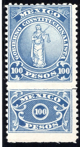 RV 41, MEXICO, MHOG, 1914-1915, 100P Blue, Revolutionary Issue Revenue Stamp, St