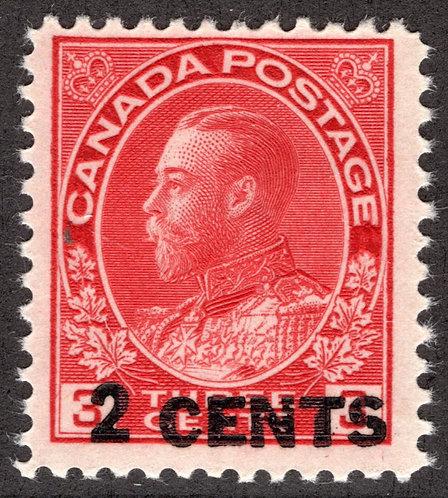 "139 Scott - 2c on 3c carmine, F, MNHOG, 1926, Admiral ""Provisional"",Canada Post"