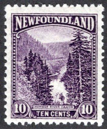 131, NSSC, Newfoundland, 10c, dark violet, Humber River Canyon, MLHOG, F/VF
