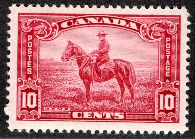 223 Scott - 10c carmine rose, VF, MLHOG, RCMP, Canada Postage Stamp