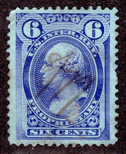 Scott RB17b, 6c violet blue, Wmk 191R, Proprietary, Used, VF, blunt perf and blu