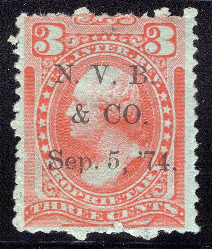 Scott RB13b, 3c OrangeProprietary, Printed Cancellation - N.V.B. & CO.
