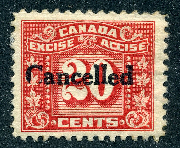"""van Dam FX77 - 20c red- Cancelled with a """"Clipped C"""" variety from CARIS"""