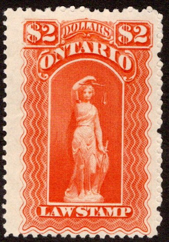 "van Dam OL58, Canada, Ontario, MNG, Law Stamp, hint of blue ""C"", $2, p.11"