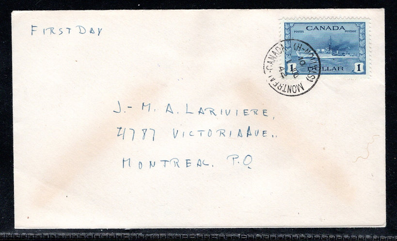 262, Canada, Scott, FDC, tied by CDS, 1 Jul 42, no cachet