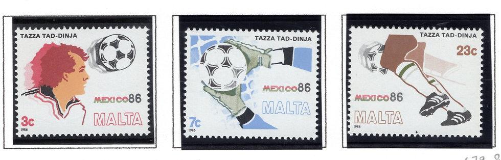 679-681 Malta, 1986 World Cup Soccer Championships Mexico, MNHOG Set