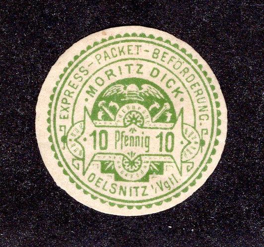 Privatpost Oelsnitz, guter Wert der Express-Packet-Beförderung Moritz Dick, 1891