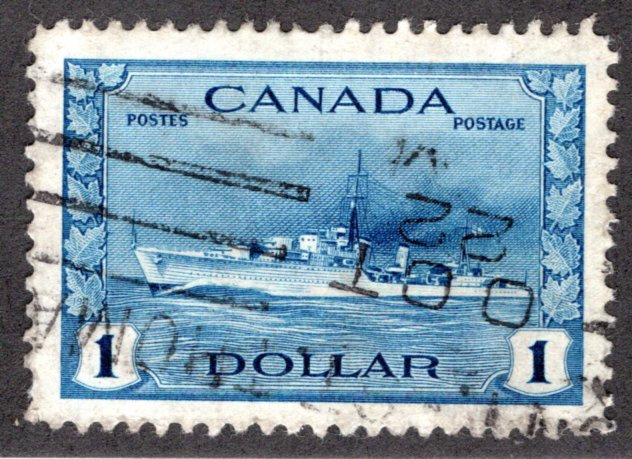 262, Scott, $1, Used, VF Tribal Class Destroyer Ship, 1942, Canada Postage Stamp
