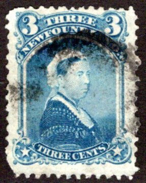 35, NSSC, Newfoundland, 3¢ Queen Victoria, blue, Used, F/VF,postage stamp
