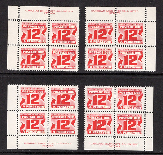 J36iii, Scott, 12c, VF, HB, DEX, MNHOG, matched plate block of 4, 2nd Centennial