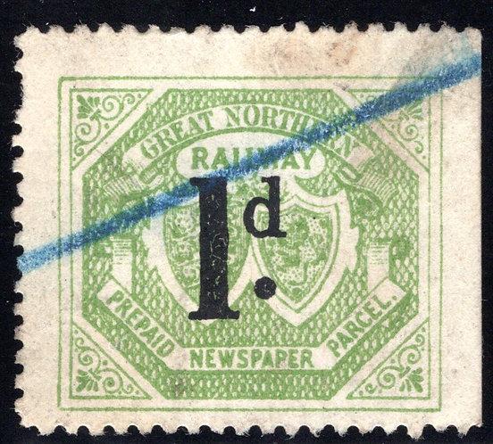 Great Britain, Great Northern Railway, 1d., Used, Prepaid, newspaper, parcel rev