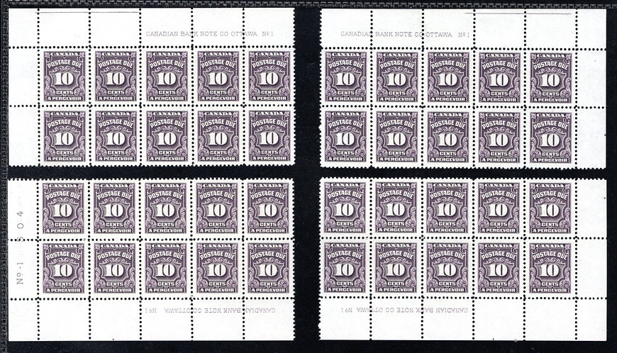 J20, Scott, 10c, VF, matched plate block of 10 set, P1, 4th issue, MNHOG