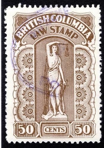 van Dam BCL34a pinperfs? Used, 50c,Seventh Series,1933-41, British Columbia La