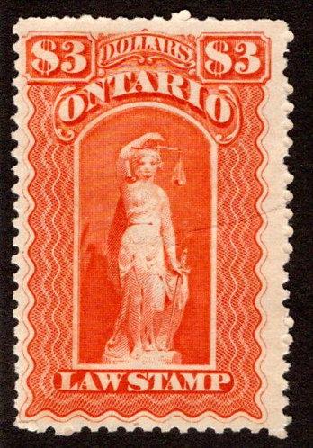 """van Dam OL59, Canada, Ontario, MLHOG, Law Stamp, blue """"C"""", $3,p.11"""