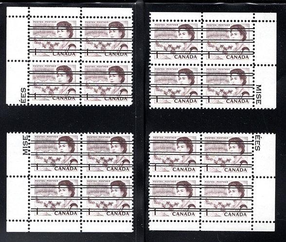 454xx, Scott, 1c, Matched PB Set, Centennial Definitives, Canada Postage Stamps