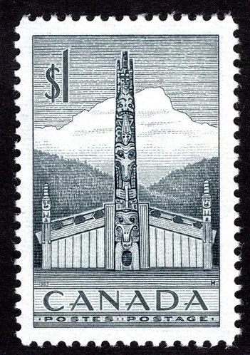 Scott 321, $1 grey, XF/SUP-93, MNHOG, Totem Pole, 1953, Canada Postage Stamp