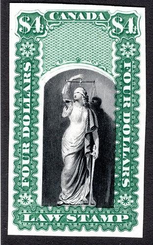 OL14, QL13, van Dam $4, green & Black, Plate Proof, Canada, no overprint