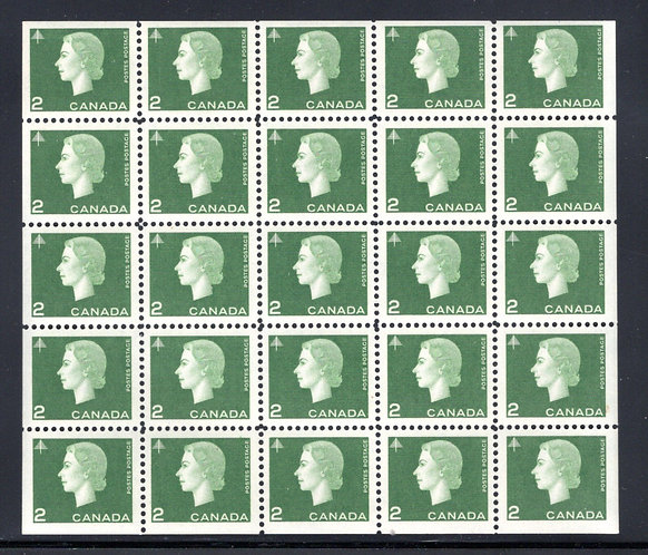 402a Scott, 2c green, VF, QEII Cameo Issue, Miniature Pane of 25 (5x5) MNHOG