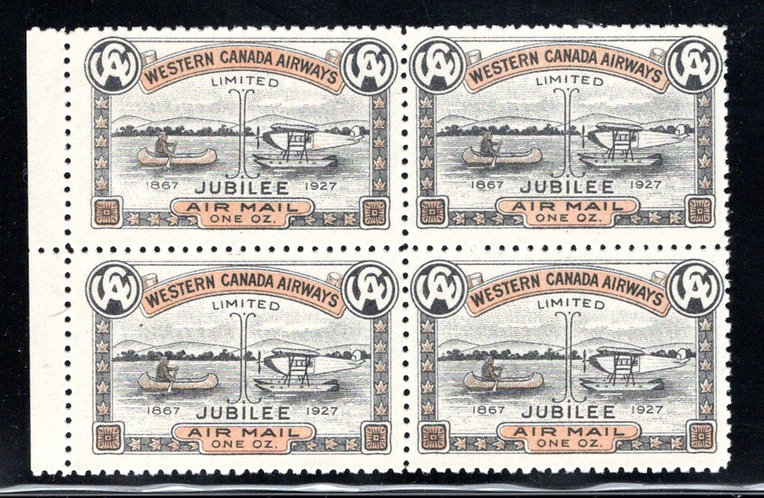 CL41, Canada, 10c, Western Canada Airways Jubilee Issue, MNHOG - block of 4