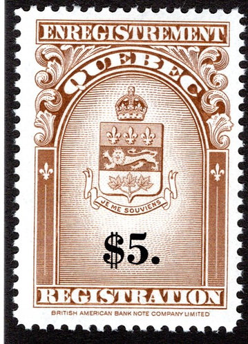 van Dam QR36 - $5 brown and black - MNHOG - 1962 Coat of Arms Issue, Quebec Regi