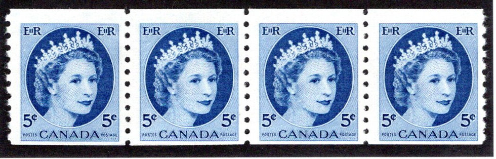 348, Scott, 5c blue, Strip of 4, MNHOG, QEII Wilding, Canada Postage Stamps