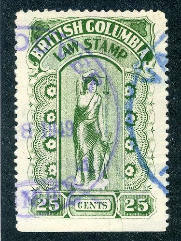 van Dam BCL23c British Columbia Law Stamp - 25c pinperfs - Fifth Series