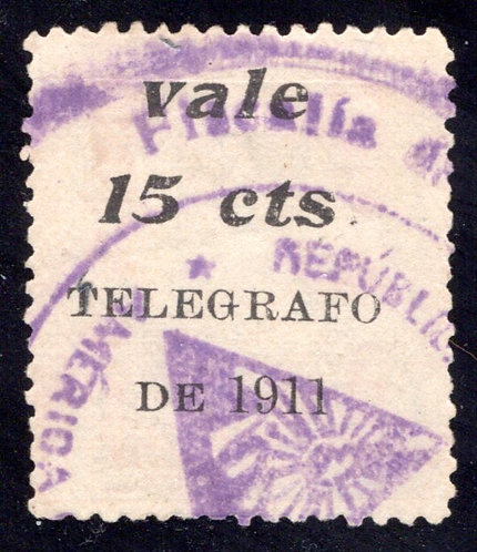 H152, 1911 Nicaragua 2nd class Railway, surcharged for revenue purposes