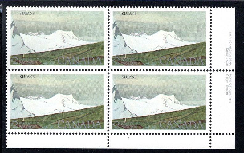 727i Scott - Kluane National Park, $2, Plate 2 (PB2), untagged, corner block of