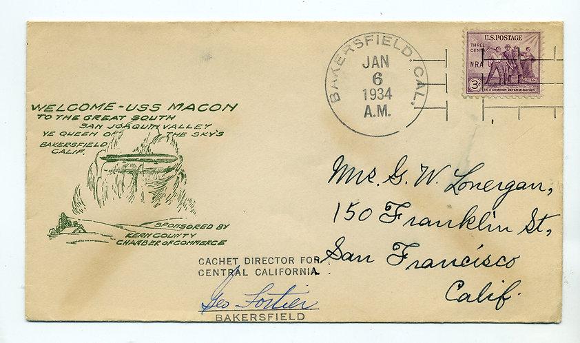 USS Macon Welcome to Kern County, Bakersfield California - Jan 6, 1934 cachet