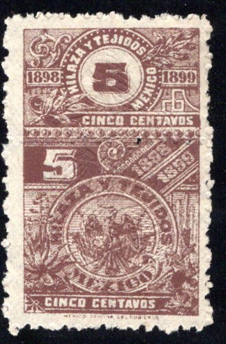 HT 34A, 5c, 1898-1899, Coat of Arms, Beautiful Embossed Pattern,Hilaza y Tejidos