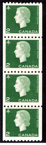 406, Scott, 2c green, Strip of 4, VF, MNHOG, Cameo Issue, Coil, Canada Postage S