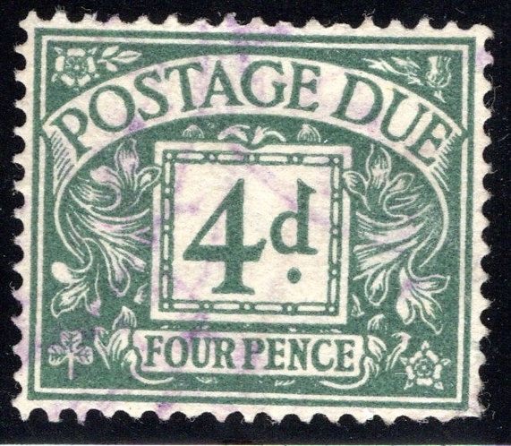 Scott J30, four pence, 4d, Postage Due, used, Great Britain Postage