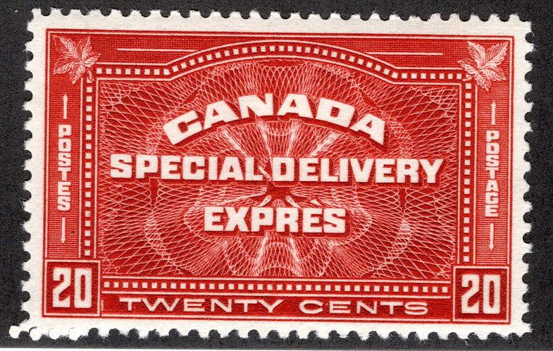 E4, 20c henna brown, Special Delivery - VF - MLHOG, Canada BOB Stamp