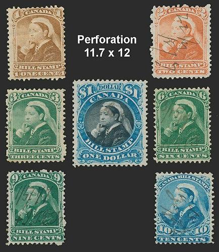 Canada Bill Stamps, van Dam FB37, 39, 40, 43, 46, 47, 52. all perf 11.7 x 12