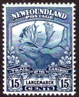 116, NSSC, Newfoundland, 15c dark blue, MLHOG, VG/F, Trail of the Caribou,Scott