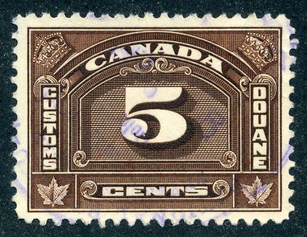 van Dam FCD8- 5c brown - Used - 1935 Bilingual Customs Duty