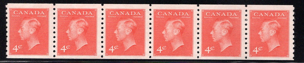 "Scott 310 coil, Strip of 6, 4c King George VI ""with Postes / Postage, Canada"